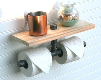 2 Roll Side-by-Side Industrial Rustic Pipe Toilet Paper Holder with Wooden Shelf (Black Steel) (Wall Mount)