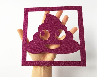 Poop Art / Funny Emoji / Poo Emoji / Rude Print / Funny Art / Pink Glitter / Silly Art / Present for Wife / Gifts for Girlfriend / UNFRAMED