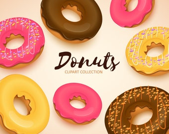 Donuts clipart. Donuts clip art collection. Sweets clipart. Vector art. Digital graphic.