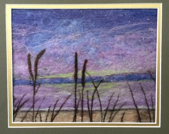 Needle and Wet Felted Wool Fiber Painting - Northern Lights Over Lake Superior