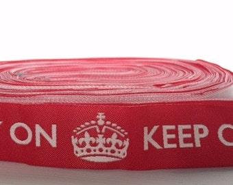 "7/8"" (23mm) keep calm & carry on jacquard ribbon"