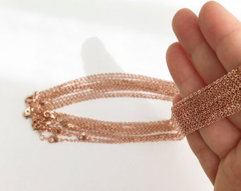 "17.5"" Necklace chains bulk 10 Pcs, Delicate Cable chains shiny Rose gold chain Jewelry Necklace Chain Bulk Chain wholesale jewelry 10CHN-R"