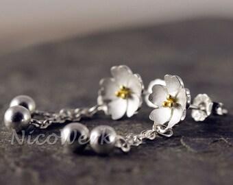 Silver earrings flower ladies jewelry earrings ear jewelry 925 gift 293