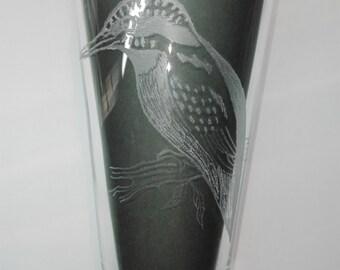 """Glas graveren motief """"Ijsvogel"""", gegraveerde glazen, geschenk / white glas wijn / champagne glas, glas met rode wijn / glas /."""