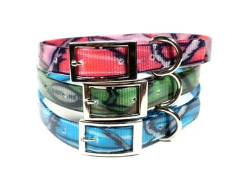 "3/4"" Camo DoggleHead Collar (Small to Medium/Large Dogs 10""-22"" Neck) Stinkproof + Waterproof"