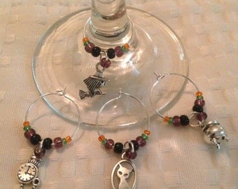 Halloween Wine Charms, Little Witchy wine charms, Halloween Party Decor, Halloween Hostess Gift, Ready to ship