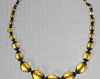 Vintage Signed Czechoslovakia Choker Necklace, Yellow/Gold Glass Beads, Lot 2