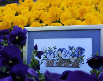 Pansies embroidery, embroidered picture, cross stitch flower, pansies art, handmade art, passe partout