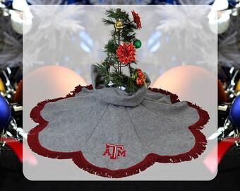 Texas A&M Christmas Tree Skirt Gray with Maroon