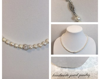 """White Freshwater Pearl 20"""" Necklace with Fireball"""