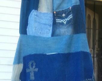 Patchwork Denim Upcycled Repurpose Skirt