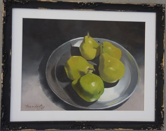 O'PEARS original oil painting on canvas in distressed wooden frame