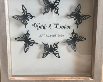 Personalised Anniversary Butterfly Print Box Frame