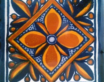 C#001))  Mexican Ceramic 4x4  inch Hand Made Tile