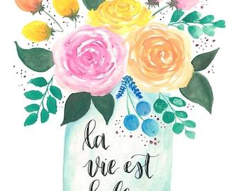 La Vie Est Belle Flower Pot