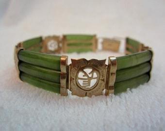 Vintage Asian 14 kt Gold & Jade Bracelet --Exquisite!