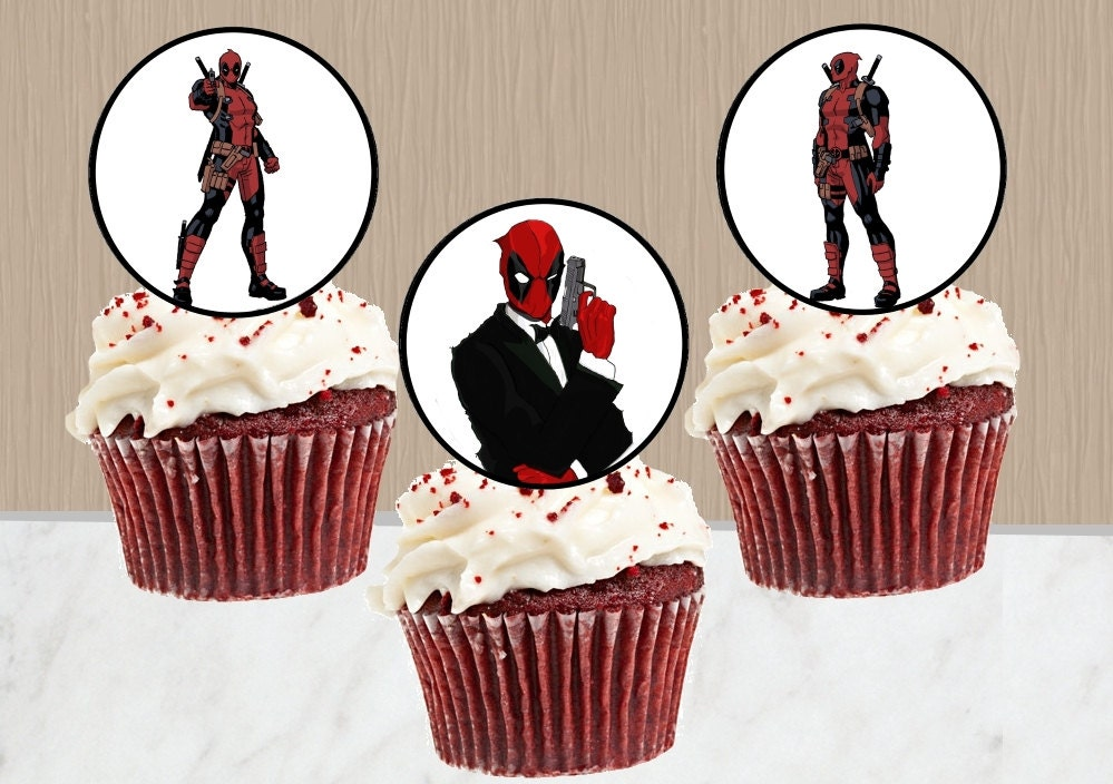 Deadpool Cupcake Toppers Instant Download Deadpool Cake