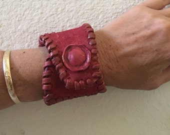 Warrior band red leathered hand stitched.