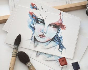 """Wide"" watercolor art print red and blue postcard format"