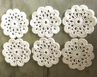 Coaster set, Six Drinking Coasters, Crochet coaster, Doilies,