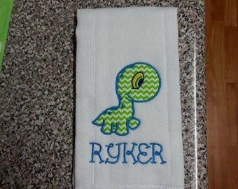 monogrammed burp cloth,  Dinosaur Burp Cloth, Dinosaur burp rag, Dinosaur baby stuff, Dinosaur design, Dinosaur appliqued burp cloth