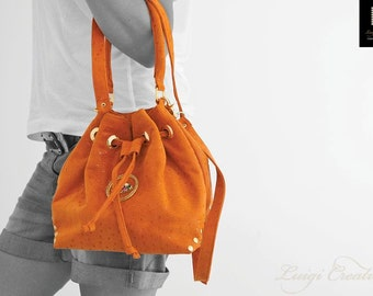 Duffle back, Cross body handbag, Handmade handbag, Party Handbag, Evil Eye Handbag, Leather handbag, Orange, Colortherapy collection!