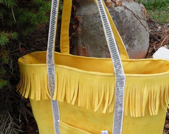 Fringed suede purse - yellow and Silver Ribbon