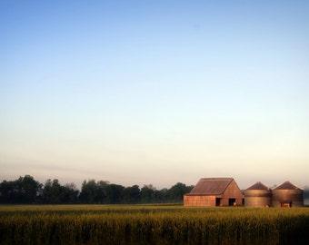 Morning Light on Wheat Field Barn Grain Bins Photograph Print
