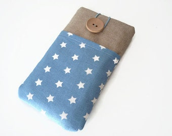 iPhone 6 Plus sleeve stars, iPhone SE cover, Padded iPhone 7 Sleeve, iPhone 5 cover,  iPod Touch 6g  bag, Blue stars pockets