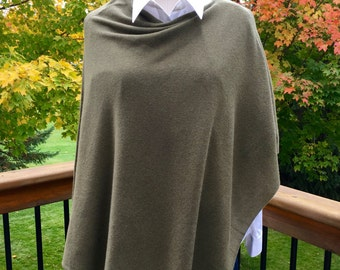 Cashmere Poncho-Olive