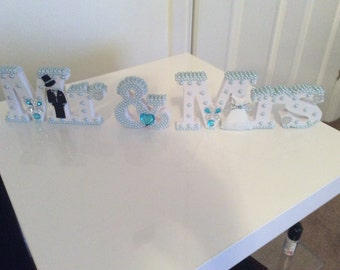 Light/ Baby Blue MR and MRS wedding centrepiece