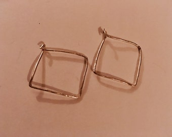 Delicate, hammered, small silver square hoop earrings