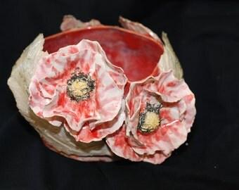 lacy hibiscus sculptural vessel