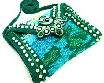 Small Aquatic Crochet Bag