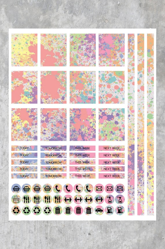 Colorful paint splatter printable planner stickers for Paint planner