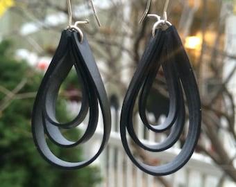 """Bike tube """"droplet"""" earrings"""