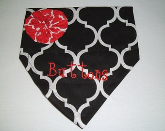 Dog Bandana, Personalized, Monogram, Quatrefoil, Black, Dog Bandana, Over the Collar, Scarf