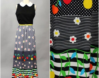1960s maxi dress . colorful cherry print dress . sleeveless, fitted dress with belt by Momentum, small medium