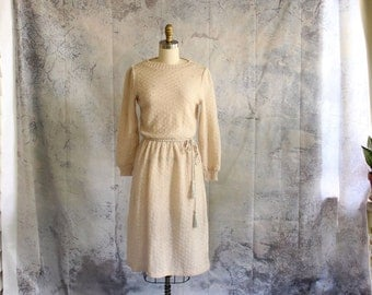 sheer cream vintage sweater dress with rope belt . early 1980s shirtwaist dress with pearl accents . womens small medium