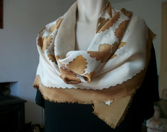 French Vintage Silk Scarf signed WALDY ORAIN Oak Leaves Rare Foulard