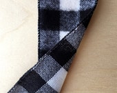 Black and White Brushed Buffalo Check Ribbon 2.5 Inch Wide Wired Ribbon Holiday Gift Wrapping 2 Yards