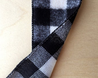 10 Yards Black and White Brushed Buffalo Check Ribbon 2.5 Inch Wide Wired Ribbon Gift Wrapping Wreath Making
