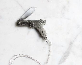 Vintage Miniature Silver Luger Pistol Gun Pocket Knife Necklace