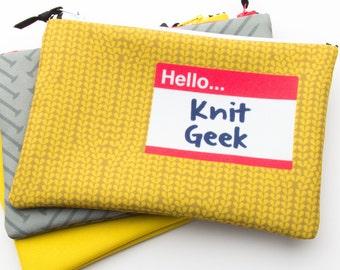Zipper Bag, Fiber Art Geek, Knit Geek, Knitting project bag