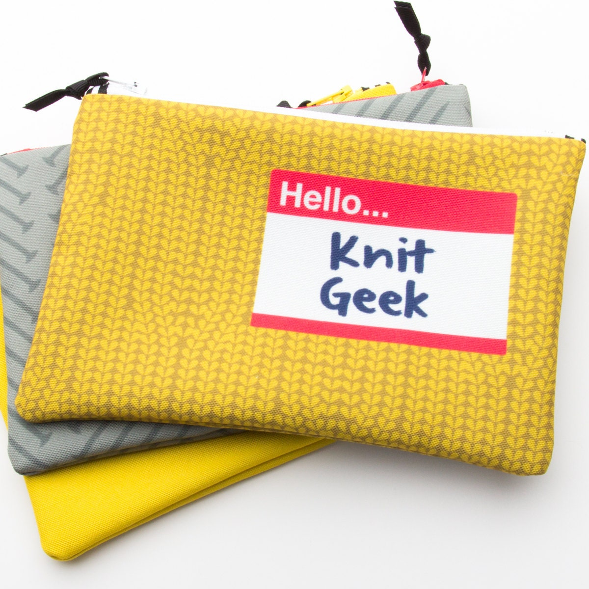 Knitting Puns List : Zipper bag fiber art geek knit knitting project
