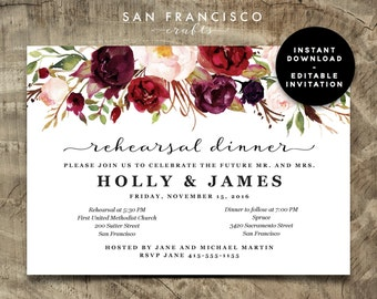 Rehearsal Dinner Invitation INSTANT DOWNLOAD | Editable Rehearsal Dinner  Invite Template   Two Versions | Holly