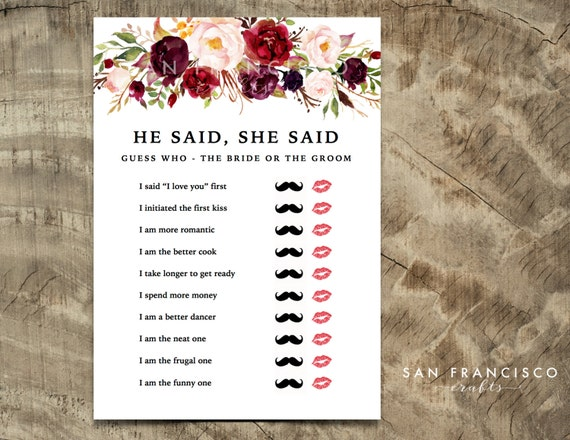 He said she said bridal shower game mustache lips for He said she said bridal shower game template