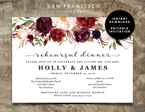rehearsal dinner invitation instant download editable. Black Bedroom Furniture Sets. Home Design Ideas