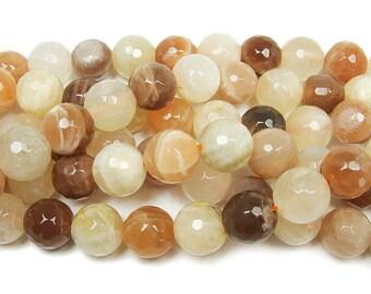 Sunstone & Moonstone Faceted Gemstone Beads