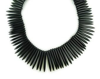 Black Howlite Graduated Sticks Gemstone Beads